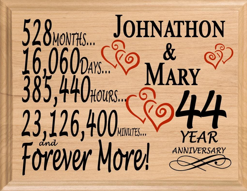 44 Year Anniversary Gift Sign Personalized 44th Wedding Anniversary Broad Bay