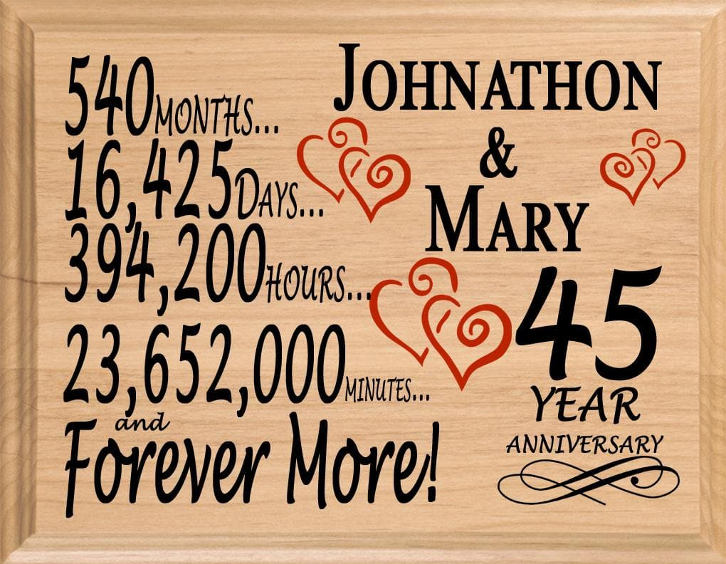 45 Year Anniversary Gift Sign Personalized 45th Wedding Anniversary