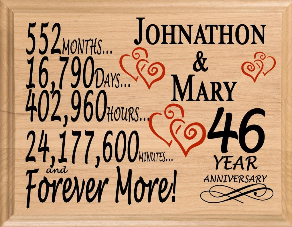 46 Year Anniversary Gift Sign Personalized 46th Wedding Anniversary