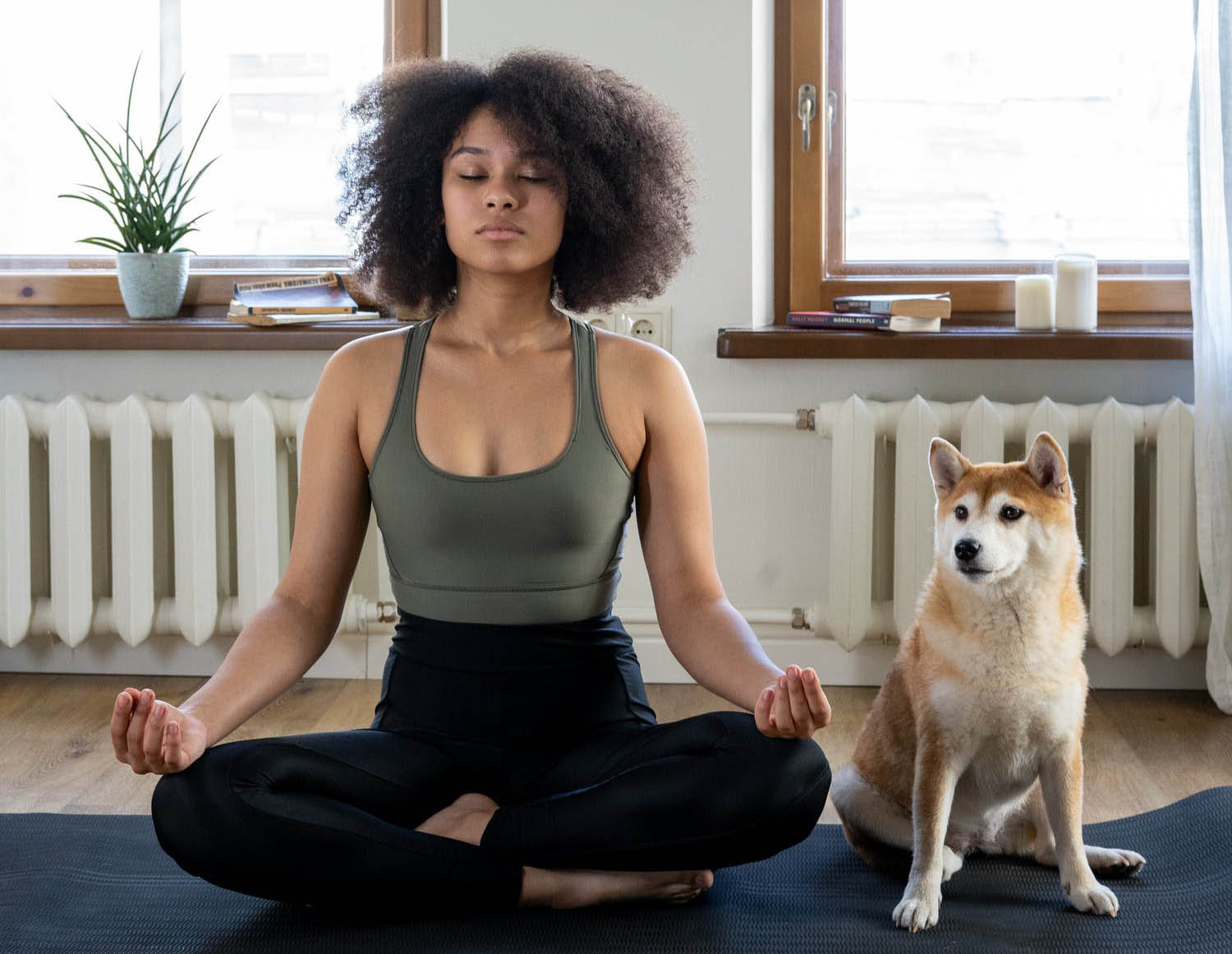 Woman meditating with a dog