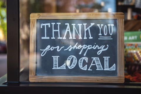 shop local sign; photo courtesy of Pexels