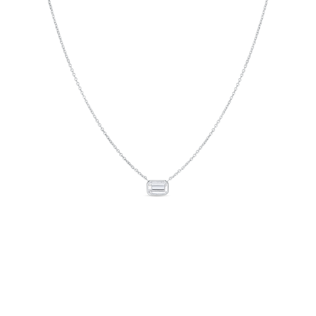 Roberto Coin 18 Karat White Gold Emerald Cut Diamond Pendant