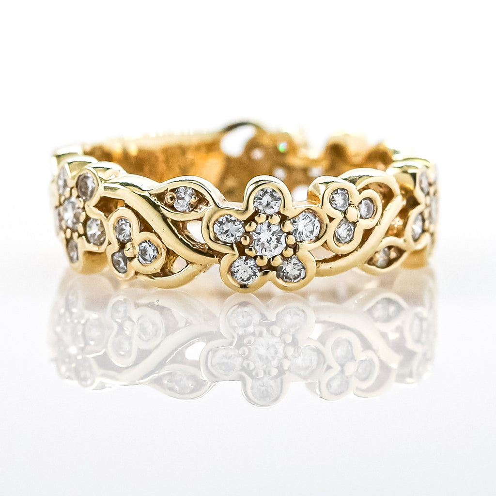 14K Gold Diamond Flower Band
