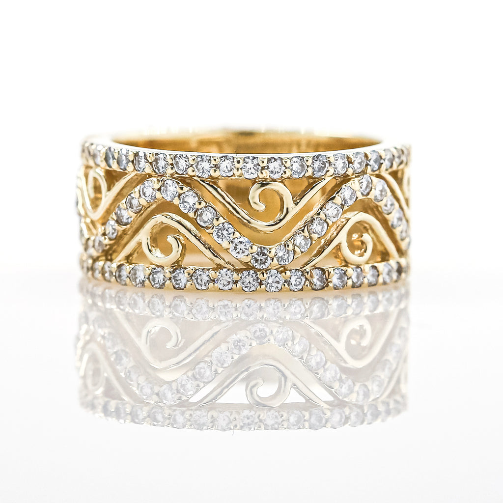 14K Gold Wide Patterned Diamond Band