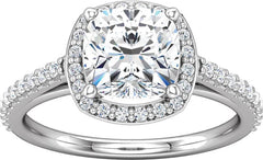 14 Karat White Gold Halo Style Diamond Engagement Ring Mounting