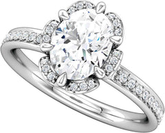 14 Karat White Gold Floral Halo Diamond Engagement Ring Mounting