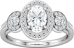 14 Karat White Gold Halo Diamond Engagement Ring Mounting