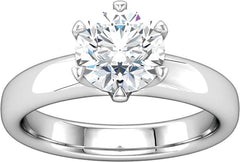 14 Karat White Gold 6 prong Center Solitaire Engagement Ring Mounting