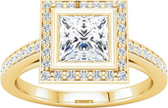 14 Karat Yellow Gold Diamond Halo Engagement Ring Mounting