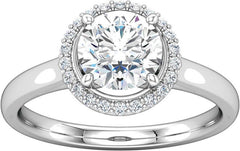 14 Karat White Gold Diamond Halo Engagement Ring Mounting