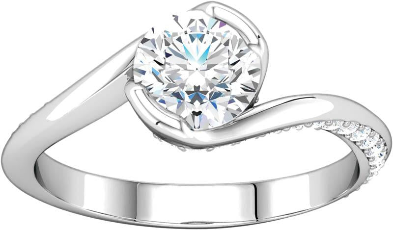 Diamond Half Bezel Engagement Ring Mounting