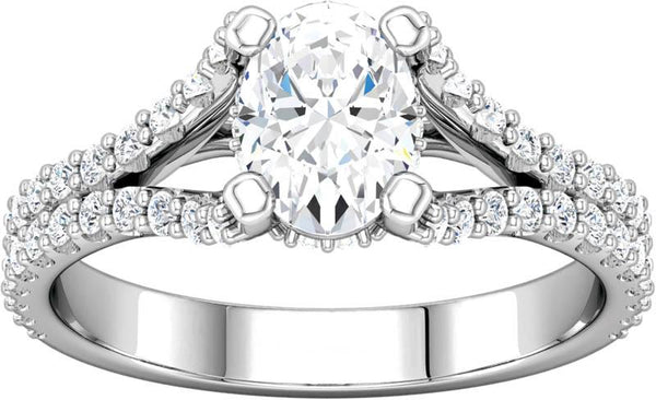 Diamond Split Shank Engagement Ring