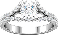 14 Karat White Gold Diamond Split Shank Diamond Engagement Ring Mounting