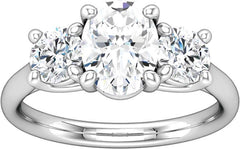 14 Karat White Gold Three Stone Trellis Style Diamond Engagement Ring Mounting