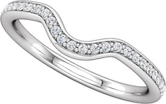 14 Karat White Gold Curved Diamond Wedding Band