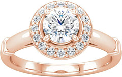 14 Karat Rose Gold Diamond Halo Engagement Ring Mounting