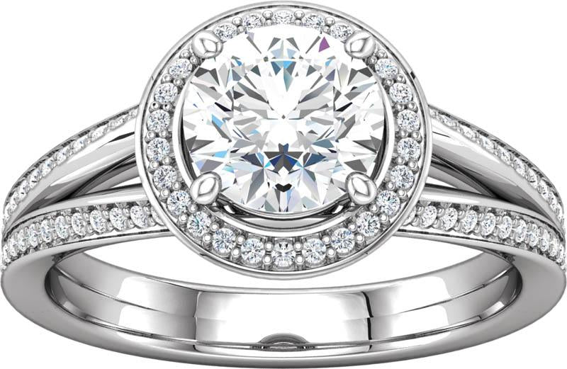 Diamond Halo Split Shank Engagement Ring