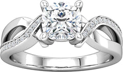 14 Karat White Gold Diamond Ribbon Style Engagement Ring Mounting