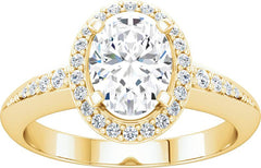 14 Karat Yellow Gold Diamond Oval Halo Engagement Ring Mounting