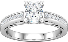 14 Karat White Gold Channel Set Diamond Engagement Ring Mounting