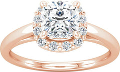 14 Karat Rose Gold Cushion Halo Engagement Ring Mounting