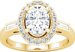 14 Karat Yellow Gold Oval Diamond Engagement Ring Mounting