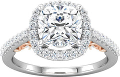 14 Karat White and Rose Gold Cushion Diamond Halo Engagement Ring Mounting