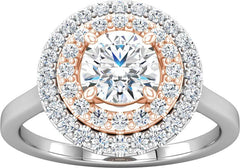 14 Karat White and Rose Gold Double Halo Engagement Ring Mounting