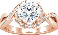 14 Karat Rose Gold Bypass Halo Style Engagement Ring Mounting