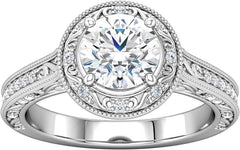 14 Karat White Gold Vintage Style Halo Engagement Ring Mounting