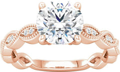 14 Karat Rose Gold Vintage Inspired Diamond Milgrain Engagement Ring Mounting
