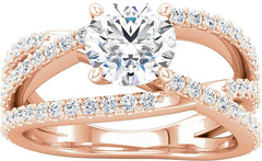 14 Karat Rose Gold Criss Cross Diamond Engagement Ring