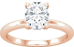 14 Karat Rose Gold Solitaire Engagement Ring Mounting