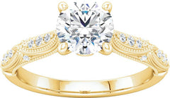 14 Karat Yellow Gold Vintage Inspired Diamond Engagement Ring Mounting