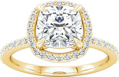 14 Karat Yellow Gold Halo Style Diamond Engagement Ring Mounting