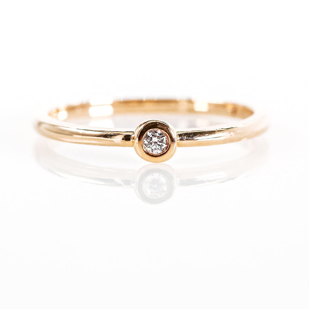 14K Rose Gold Diamond Fashion Ring with Diamond Solitaire