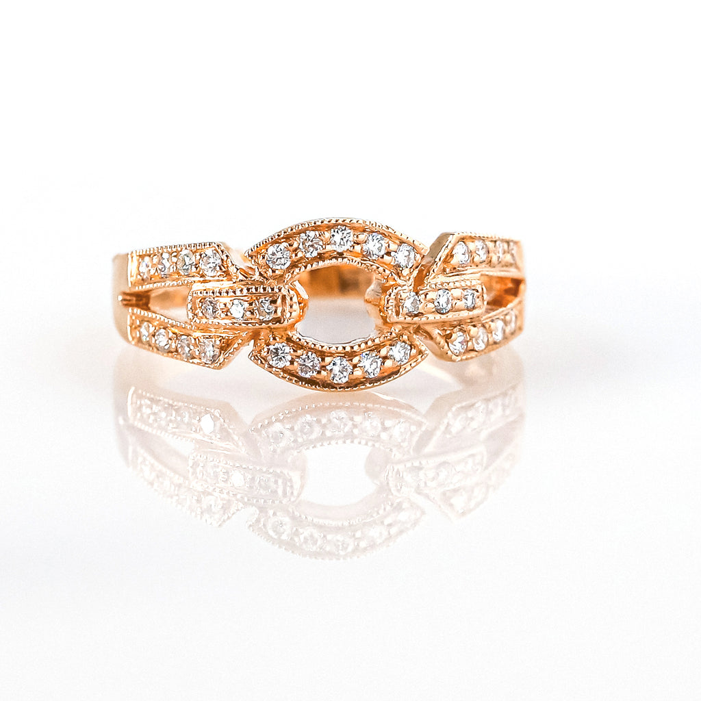 14K Rose Gold Fashion Ring with Diamonds