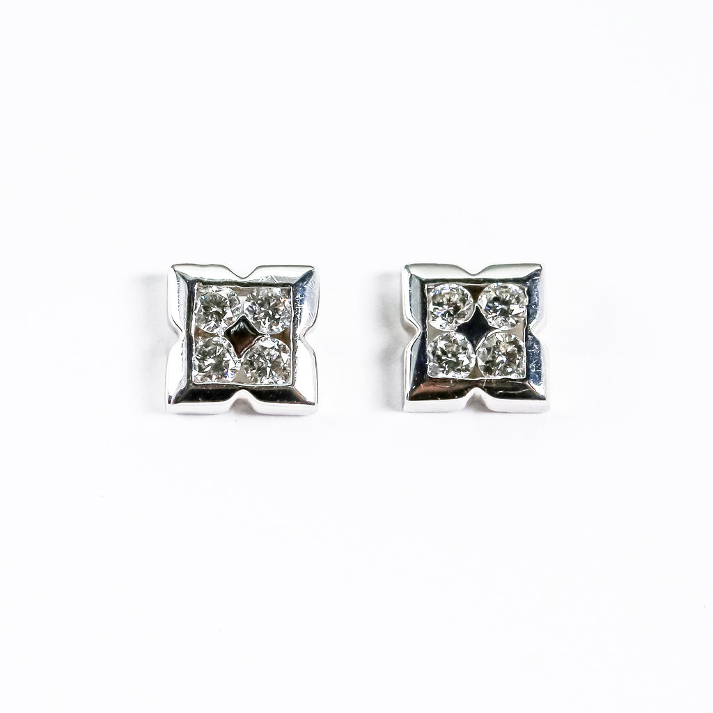 14K White Gold Diamond Fashion Earrings
