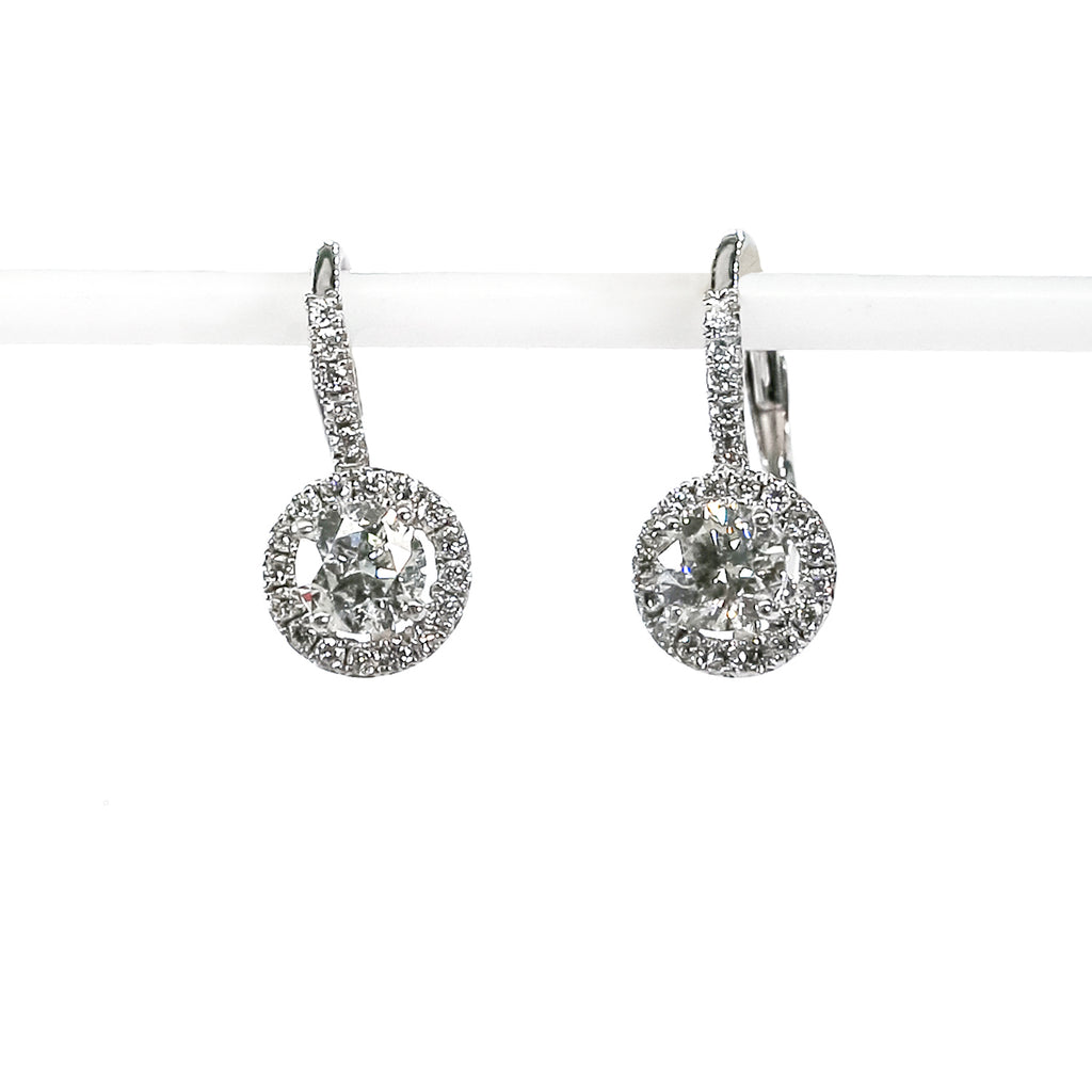 14K White Gold Fashion Leverback Earrings with Diamonds