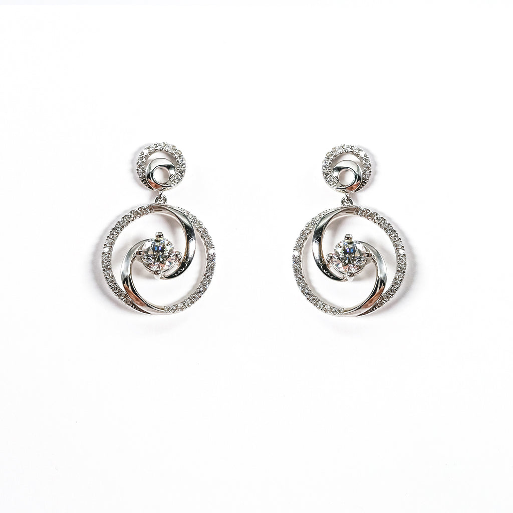 14K White Gold Drop Earrings with Diamonds