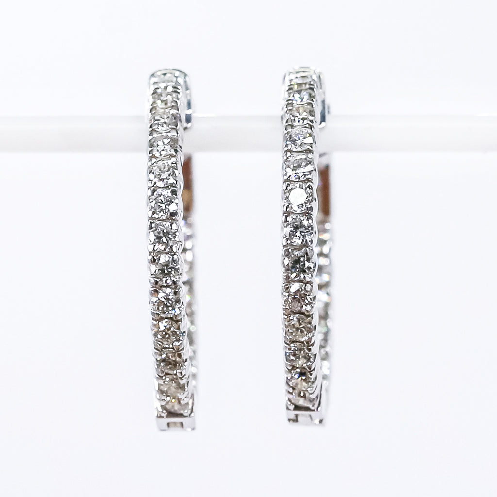 14K White Gold Inside-Out Hoop Earrings