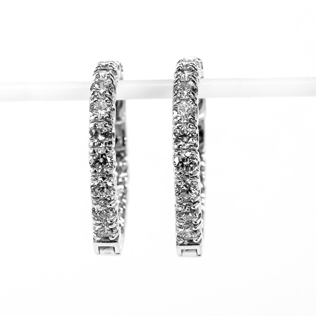 14K White Gold Inside-Out Hoop Earrings with Diamonds