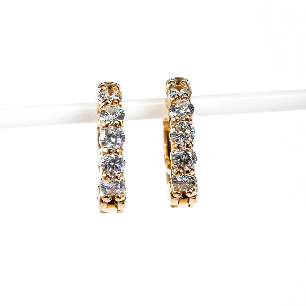 14K Yellow Gold Small Hoop Earrings with Diamonds