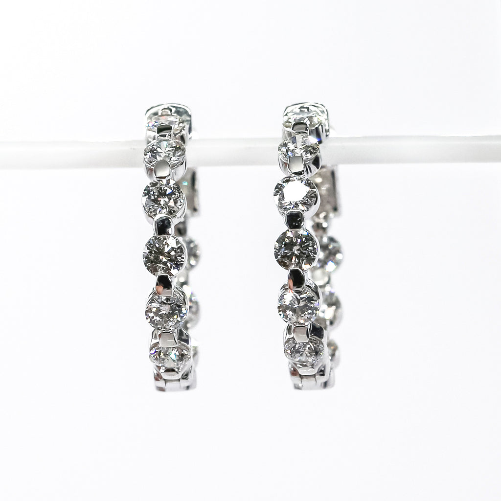 18K White Gold Medium Inside-Out Hoop Earrings with Diamonds