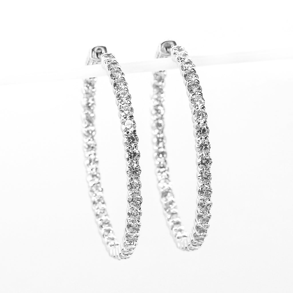 14K White Gold Large Inside-Out Hoop Earrings with Diamonds