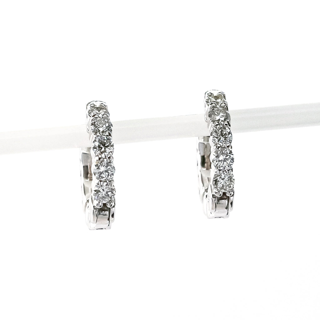 14K White Gold Huggie Hoop Earrings with Diamonds