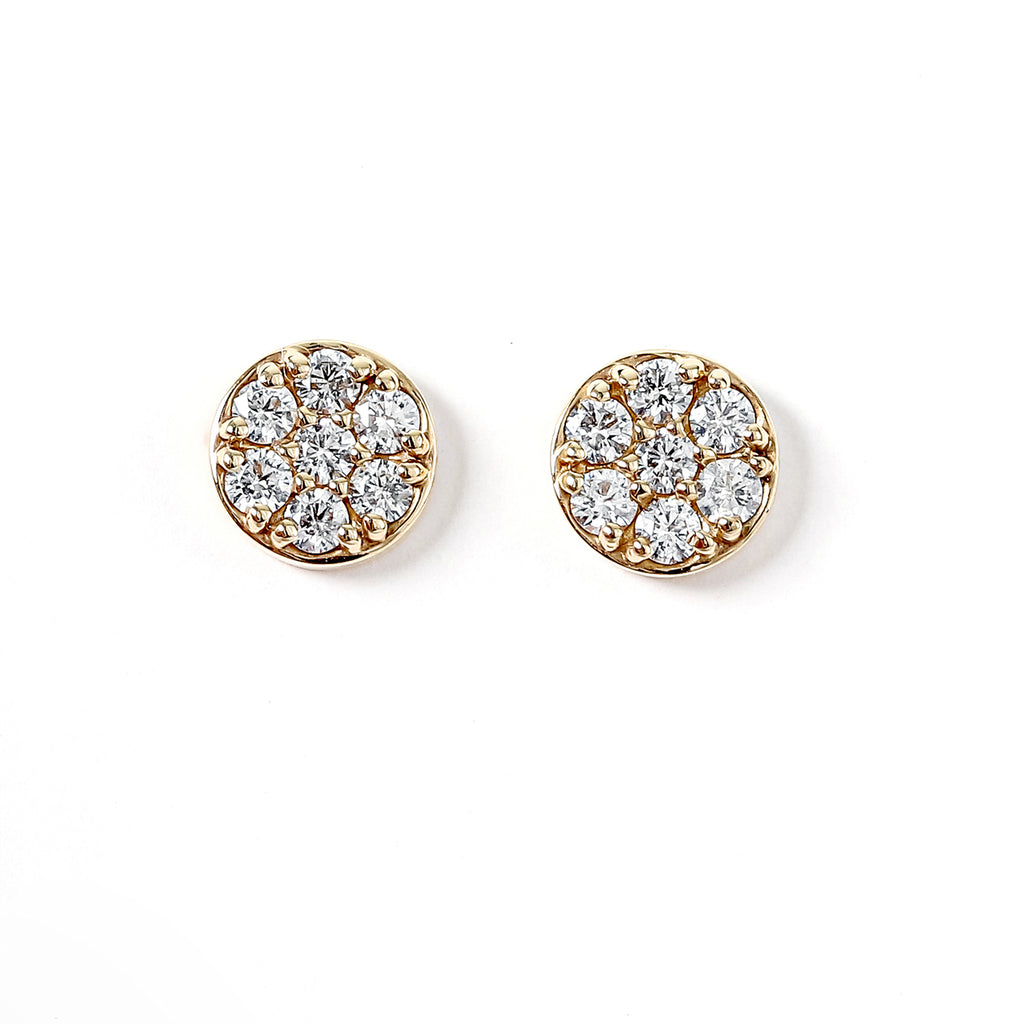 14K Yellow Gold Pave Round Diamond Disk Earrings