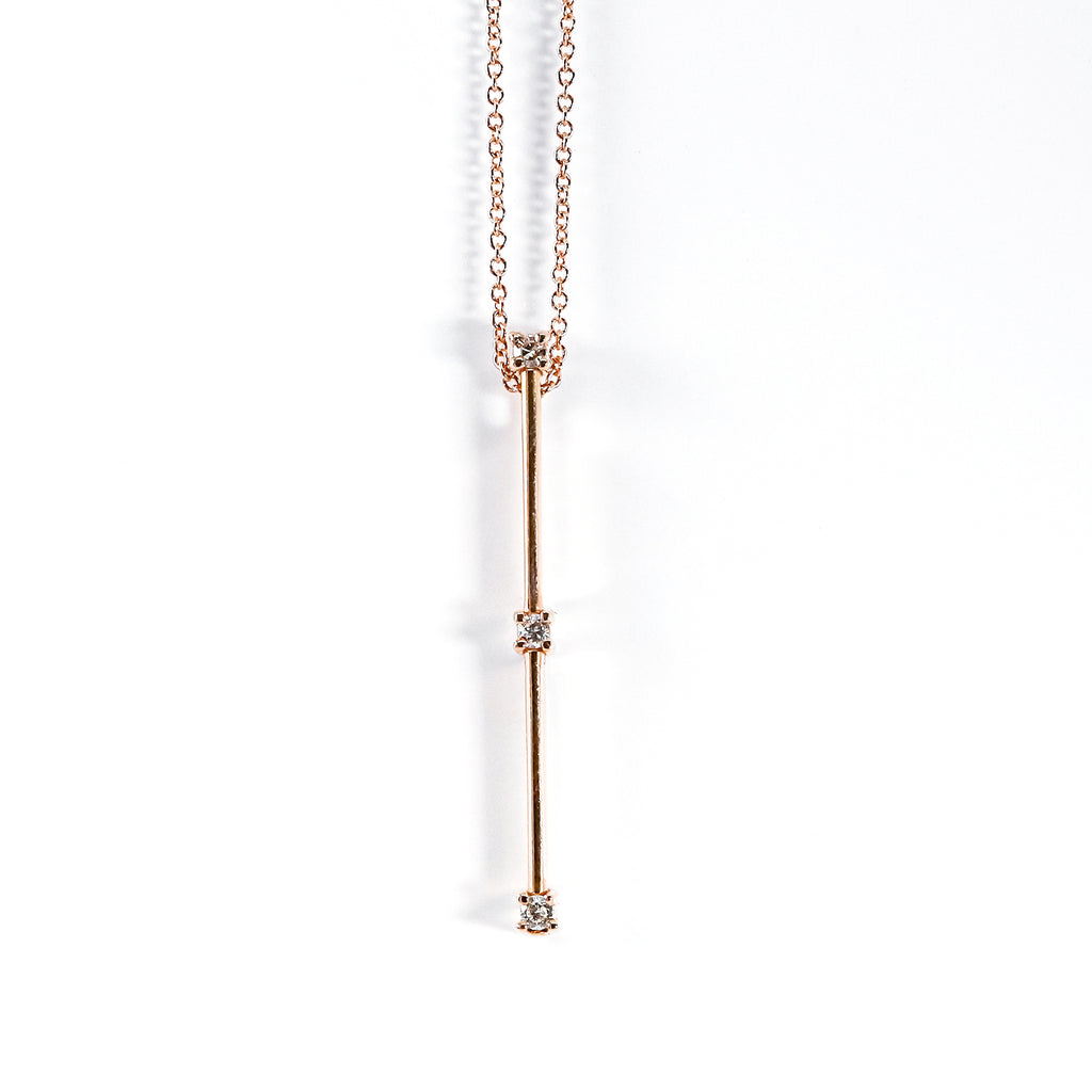14K Rose Gold Vertical Slide Pendant with Round Diamonds