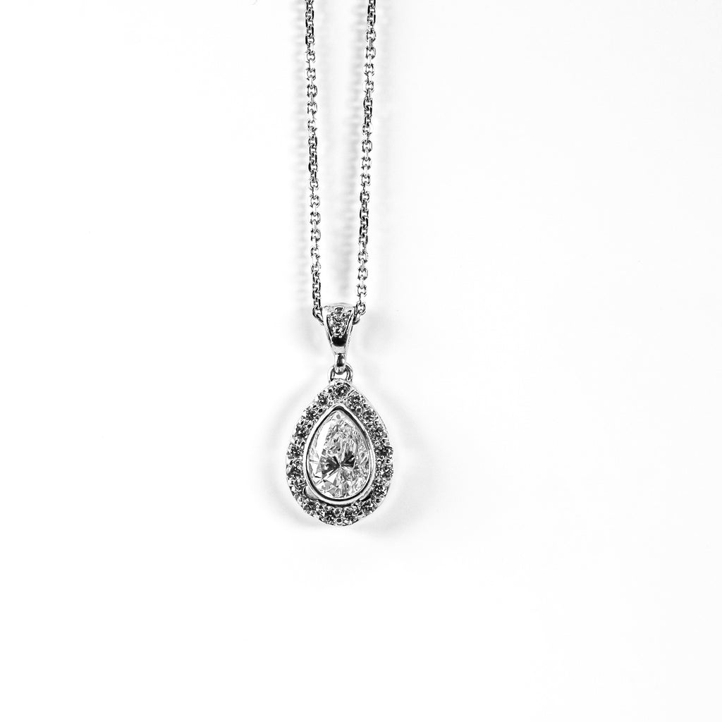 Pear-Shaped Diamond Pendant with Diamond Halo on 14K White Gold Chain