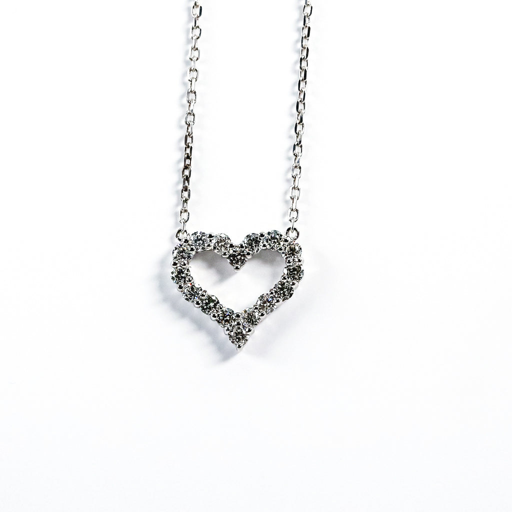 14K White Gold Heart Pendant with Diamonds